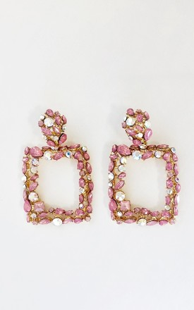 Pink Crystal Statement Earrings by The Fashion Bible