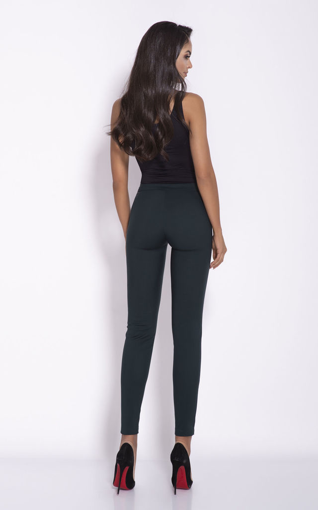 Bottle Green Cigarette Cropped Trousers by Dursi