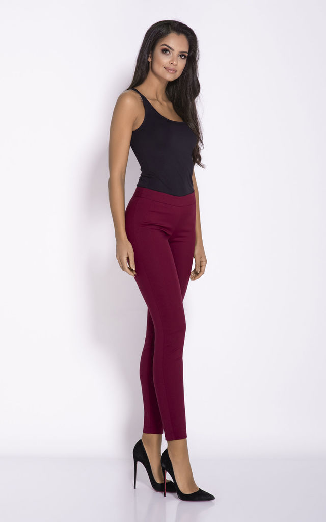 Cropped Cigarette Trousers in Deep Red by Dursi