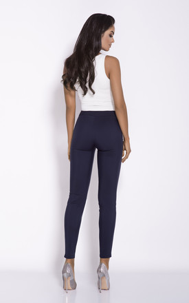 Navy Blue Cigarette Cropped Trousers by Dursi