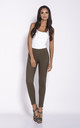 Khaki Cigarette Cropped Trousers by Dursi