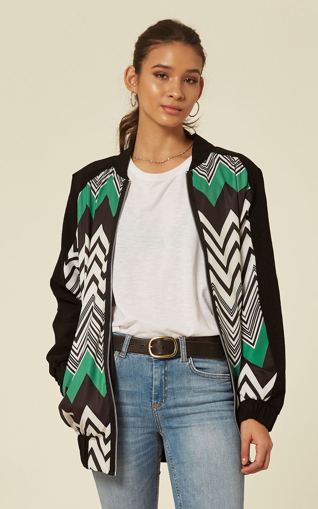 Oversized Zig Zag Bomber Jacket by Liquorish