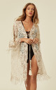 Beige CROTCHET KIMONO WITH FRINGES AND EMBELLISHMENTS by Lucy Sparks