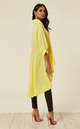 Sabin -Hi Low Button Front Pleated Yellow Tunic by Blue Vanilla