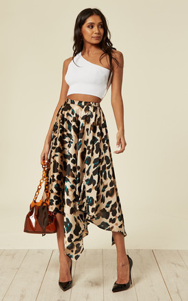 d26e96934b7e Satin Green Leopard Pleated Asymmetrical Midi Skirt