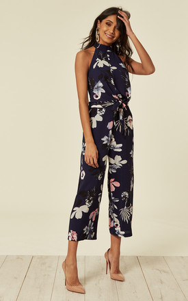 Navy Floral High Neck Print Jumpsuit With Tie Front by AX Paris