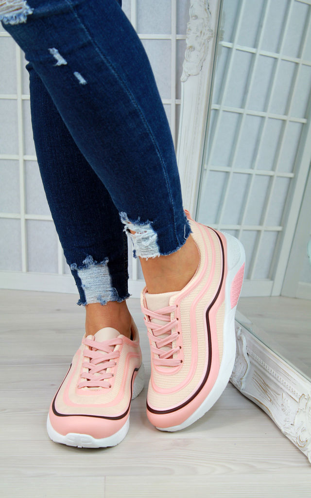 Pink Chunky Lace Up Trainers by Larena Fashion