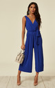 Blue Culotte Pleated Tie Waist Jumpsuit by AX Paris
