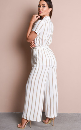 Tan stripe button front wide leg jumpsuit white by LILY LULU FASHION