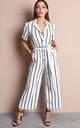 Black stripe button front wide leg jumpsuit white by LILY LULU FASHION