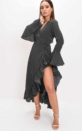 Polka dot frill wrap over maxi long sleeve dress black by LILY LULU FASHION