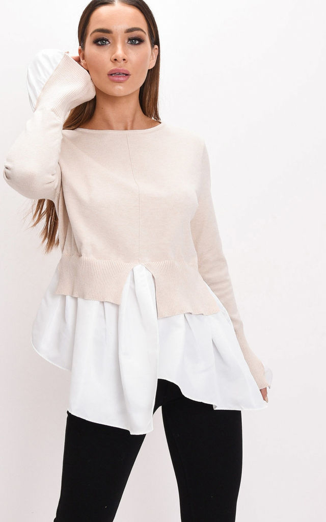 Frill shirt hem knit jumper beige by LILY LULU FASHION