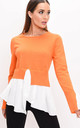 Frill shirt hem knit jumper orange by LILY LULU FASHION