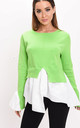 Frill shirt hem knit jumper green by LILY LULU FASHION