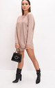 Oversized knit batwing jumper dress beige by LILY LULU FASHION