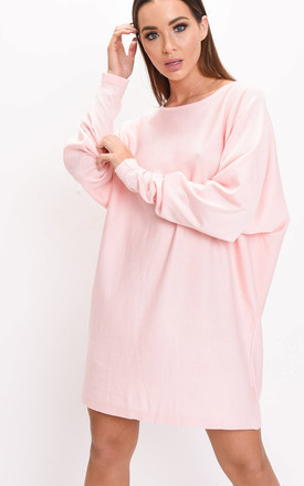Oversized knit batwing jumper dress pink by LILY LULU FASHION