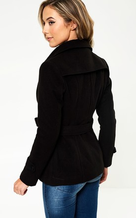 Quinn Belted Short Coat in Black by Marc Angelo