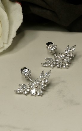 Cubic zirconia sterling silver plated flower ear jacket by EPITOME JEWELLERY
