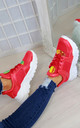Red Chunky Gloss Trainers by Larena Fashion