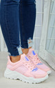 Pink Chunky Gloss Trainers by Larena Fashion