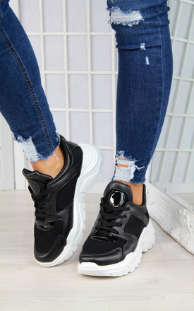 Black Chunky Gloss Trainers by Larena Fashion