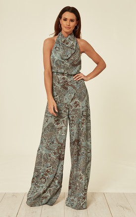 High Neck Backless Jumpsuit - Teal Paisley Fields by House Of Lily