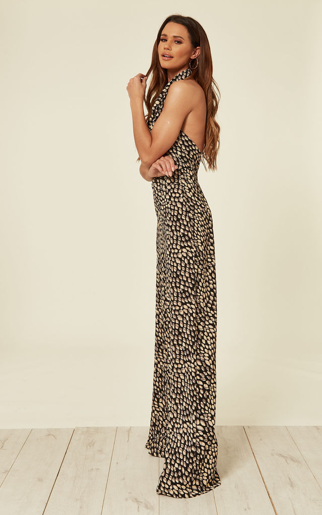 High Neck Backless Jumpsuit - Pebbles by House Of Lily