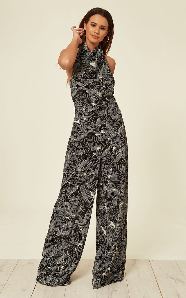High Neck Backless Jumpsuit - Black Tropics by House Of Lily