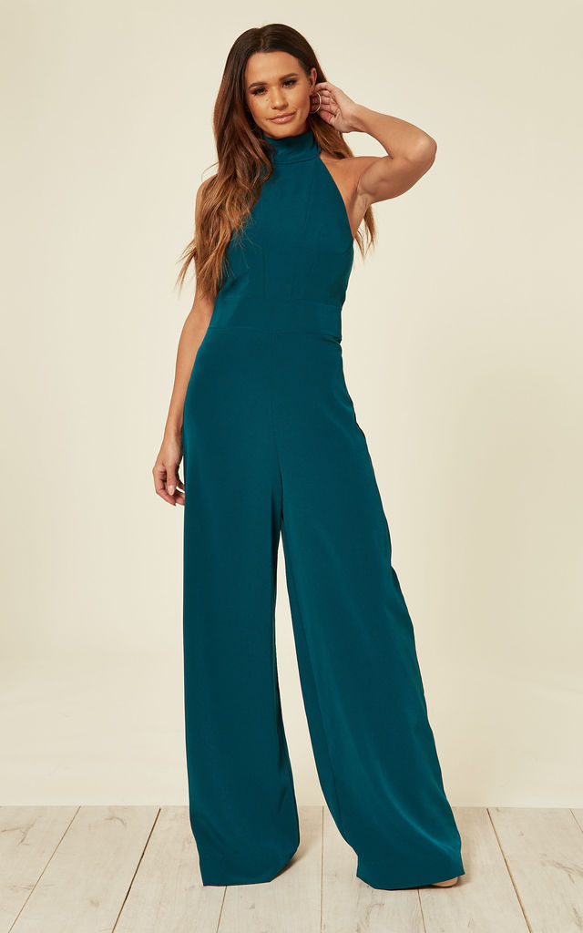 Tie Neck Backless Jumpsuit in Teal by House Of Lily