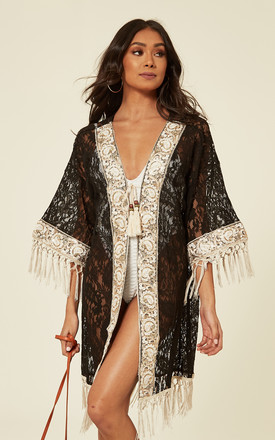 Black Crotchet Kimono With Fringes And Embellishments by Lucy Sparks