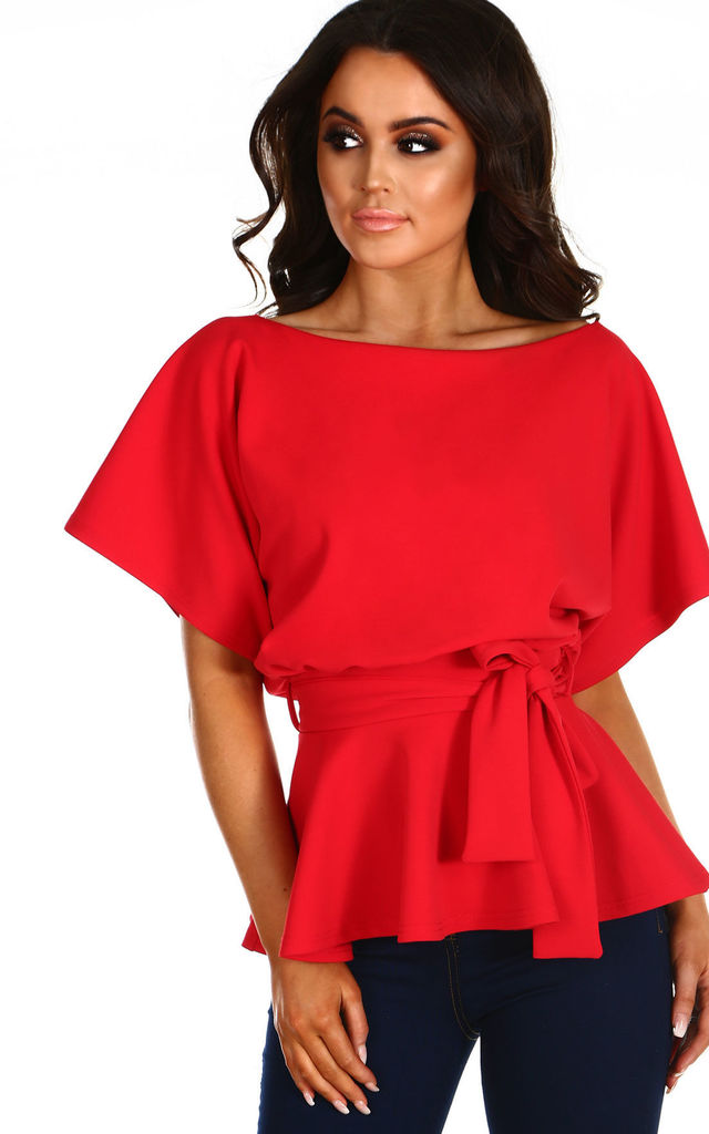 7d022c50245 Glow On Fleek Red Batwing Peplum Top by Pink Boutique
