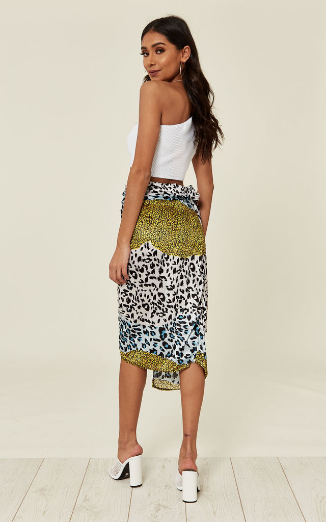 Leopard Multi-Print Wrap Midi Skirt with Tie Waist by Prodigal Fox