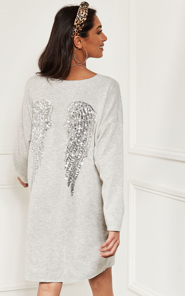 ff78427583b Grey Oversized Sequin Angel Wing Knitted Dress by Lilah Rose