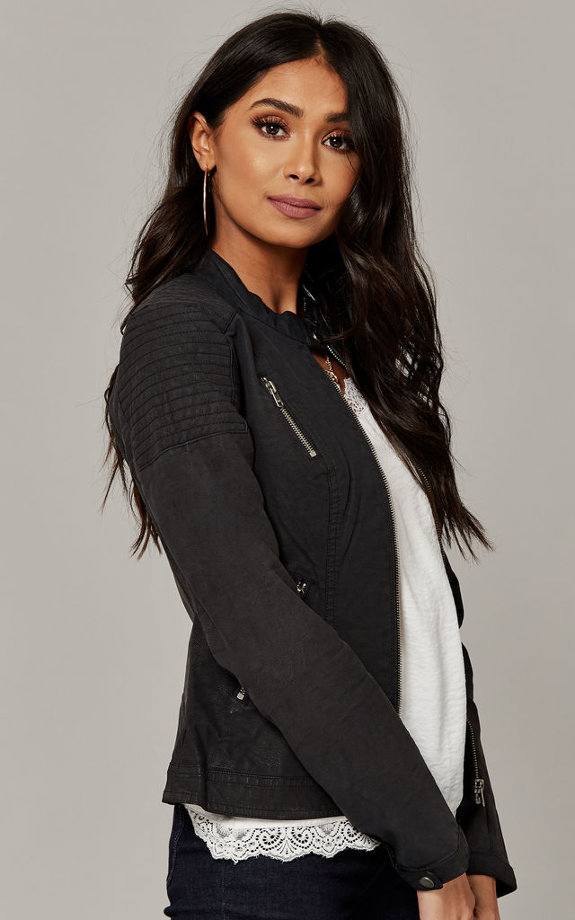 Black High Neck Faux Leather Biker Jacket by ONLY