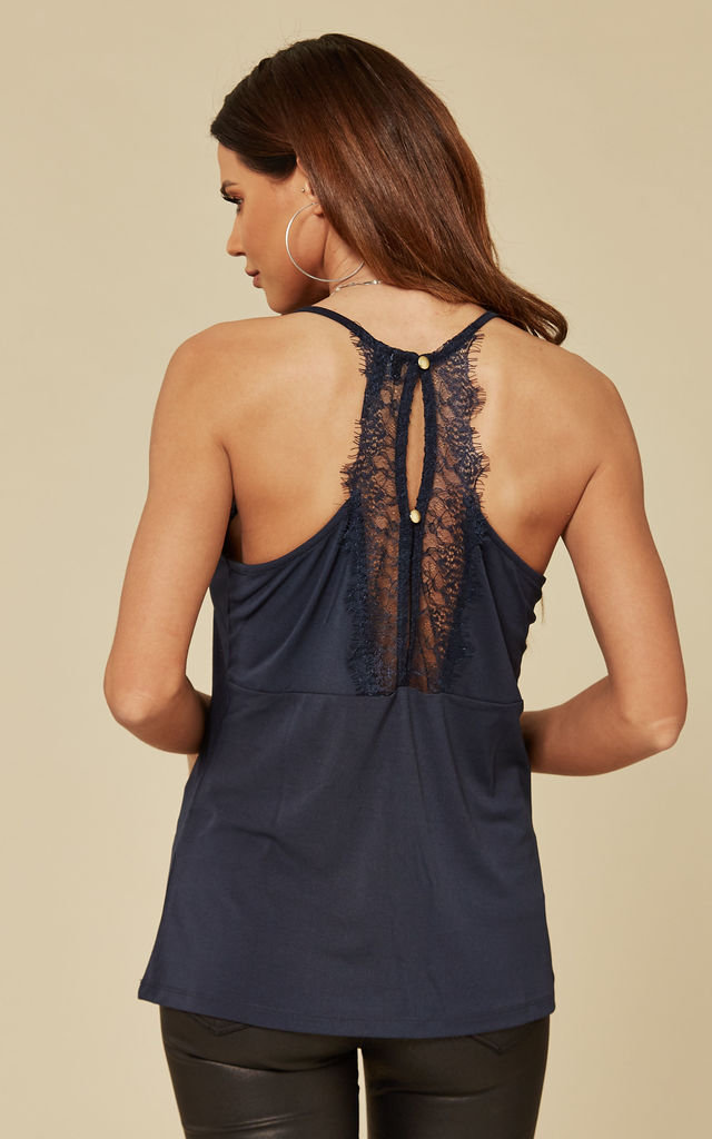 Navy Lace Cami Top by VM