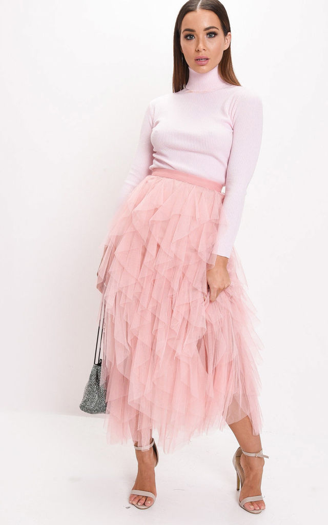 6a9826d450bd56 High waisted layered tulle ruffle midi skirt pink by LILY LULU FASHION