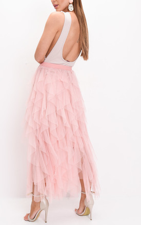 Layered high waisted tulle ruffle midi skirt pink by LILY LULU FASHION