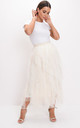 High waisted layered tulle ruffle midi skirt beige by LILY LULU FASHION