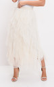 Layered high waisted tulle ruffle midi skirt beige by LILY LULU FASHION