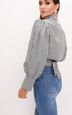 Balloon long sleeve gingham tie front crop shirt blouse top black by LILY LULU FASHION