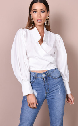Balloon long sleeve tie front crop shirt blouse top white by LILY LULU FASHION