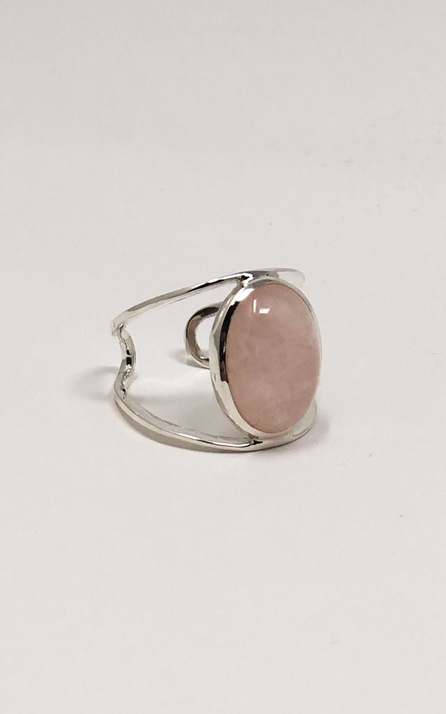 Sterling Silver Gemstone Ring with Pink Rose Quartz by Gypsy Spirit