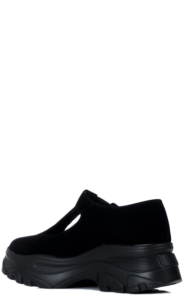 ROMA Mary Jane Chunky Trainers Shoes - Black Suede Style by SpyLoveBuy