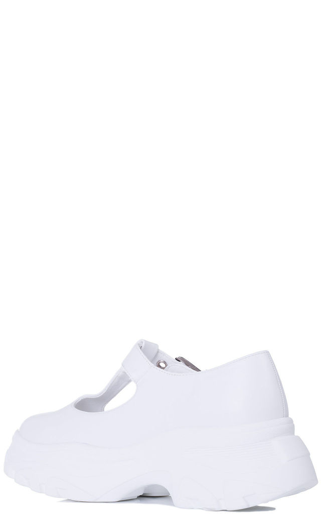 ROMA Mary Jane Chunky Trainers Shoes - White Leather Style by SpyLoveBuy