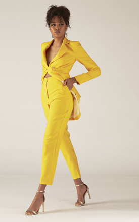 4185e82d9ff Halle Yellow High Waisted Tailored Suit Pants