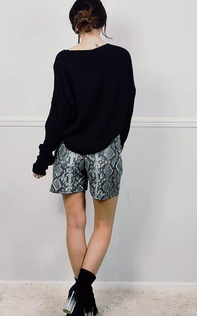 Snake Print Paperbag High Waisted Shorts by FOXY FROX