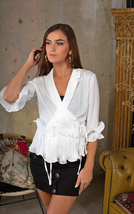 Nora White Ruffle Wrap Pleated Blouse by Lavand Stories