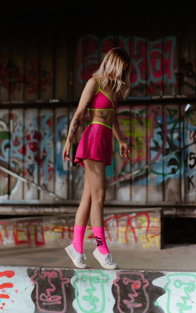 Hailey Hot Pink Lycra and Lace PJ Shorts with Neon Green Waistband by Sophie Rutherford Intimates