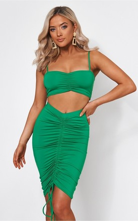 Alia Green Ruched Co-Ord by The Fashion Bible
