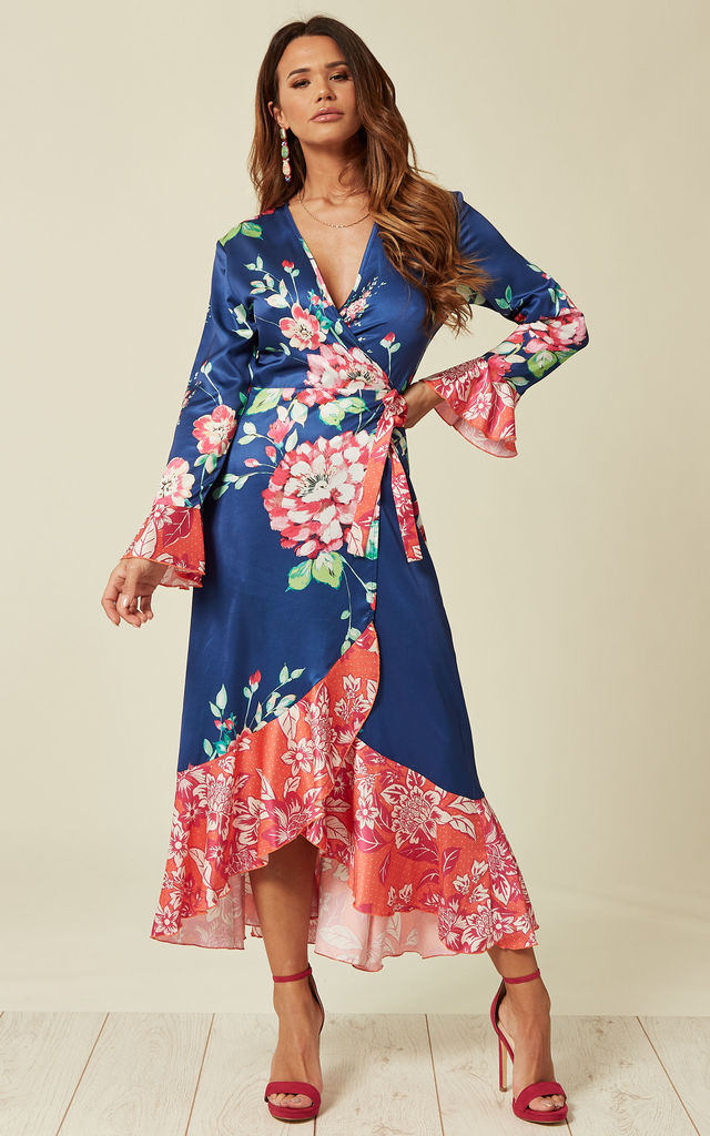 b220597f5d816 Wrap Front Midi Tea Dress In Floral Print | Liquorish | SilkFred